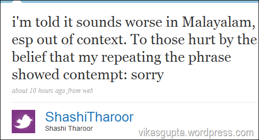 Twitter - Shashi Tharoor holy cows cattle class controversay